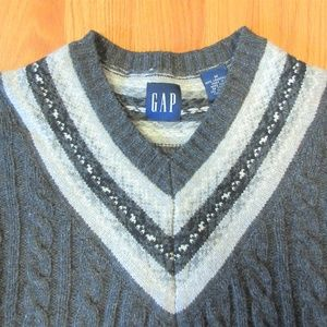 GAP Mens 100% LAMBSWOOL CABLE KNIT V-NECK PREP